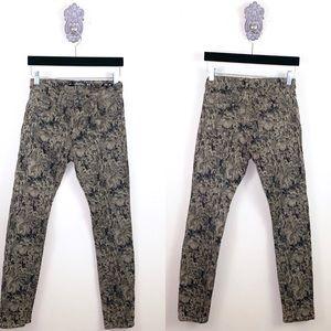 Zara Watercolor Print Slim Fit Skinny Jeans